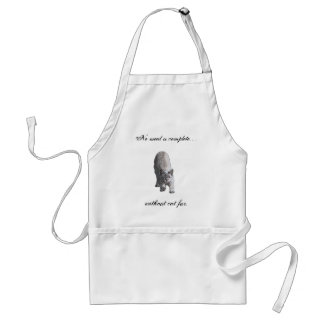 No meal is complete. . ., without cat fur. standard apron