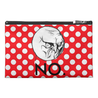 """""""NO."""" Meme Red White Polka Dot Travel Accessory Bag"""