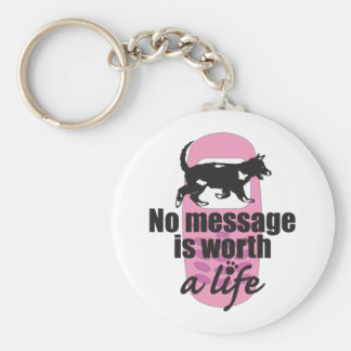 No Message is Worth a Life Basic Round Button Key Ring