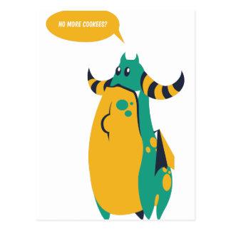 no more cookes, cookies cow design postcard
