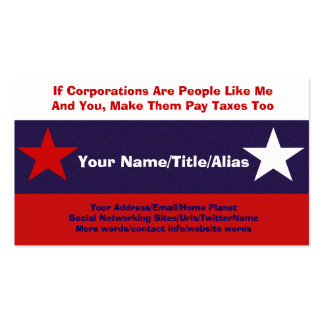 No More Corporate Welfare Pack Of Standard Business Cards