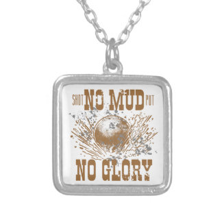 no mud no glory silver plated necklace