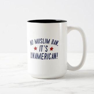 No Muslim Ban Two-Tone Coffee Mug