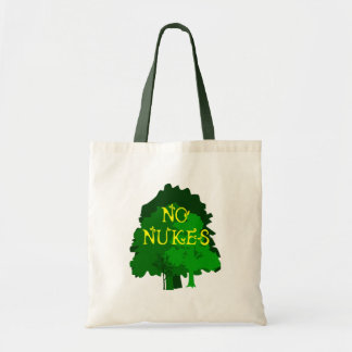 No Nukes with Green Trees Tote Bags