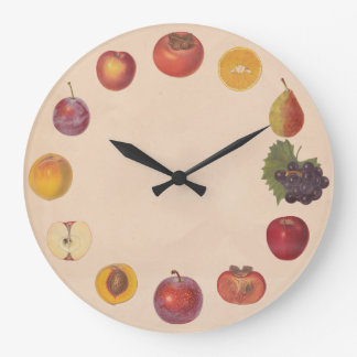 No Numbers Vintage Fruits Wall Clock