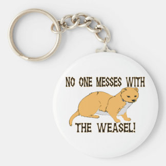 No One Messes With The Weasel Basic Round Button Key Ring