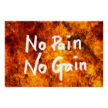 No Pain No Gain GYM Motivational Quote Poster