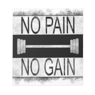 No pain no gain notepad