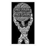 No Pain No Gain Weightlifting Poster
