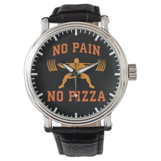 No Pain, No Pizza - Carbs - Funny Workout Novelty Watch
