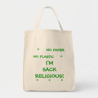 No Paper No Plastic  I'm Sack Religious Grocery Tote Bag