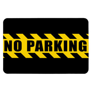 No Parking Police Hazard Tape Black Yellow Stripes Rectangular Photo Magnet