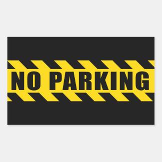 No Parking Police Hazard Tape Black Yellow Stripes Rectangular Sticker