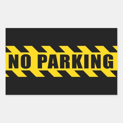 No Parking Police Hazard Tape Black Yellow Stripes Rectangular Stickers