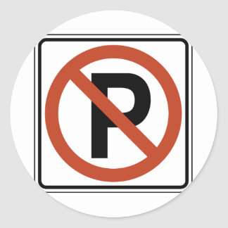 No Parking sign Round Sticker