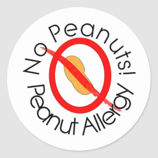 No Peanuts Peanut Allergy Designs Round Sticker