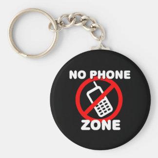 No Phone Zone Basic Round Button Key Ring
