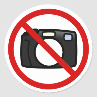 No photography, no cameras classic round sticker