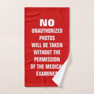 No Photos Autopsy Room Sign Bath Towel Set