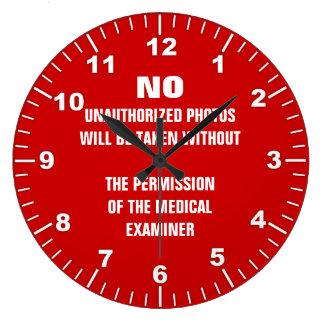 No Photos Autopsy Room Sign Wall Clocks