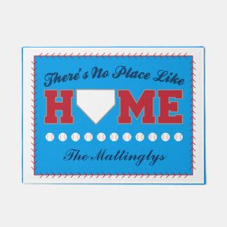 No Place Like Home Baseball Door Mat