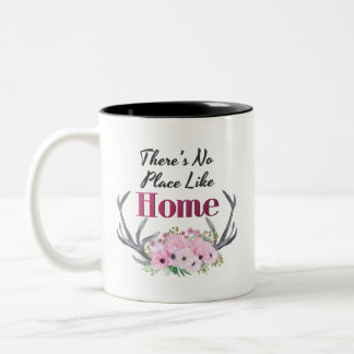 No Place Like Home Floral Antlers Mug