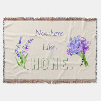No place like home lilac green typography quote throw blanket