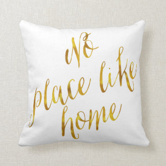 No Place Like Home Quote Faux Gold Foil Metallic Throw Cushion