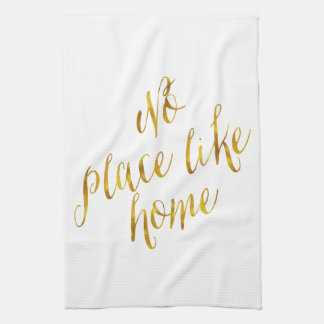 No Place Like Home Quote Faux Gold Foil Metallic Tea Towels