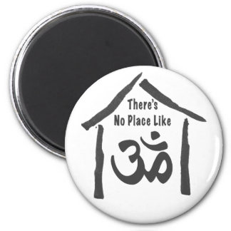 No Place Like Om Calligraphy 6 Cm Round Magnet