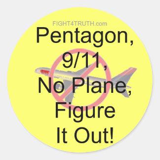 No Plane, 9/11, Pentagon, Figure It Out Classic Round Sticker