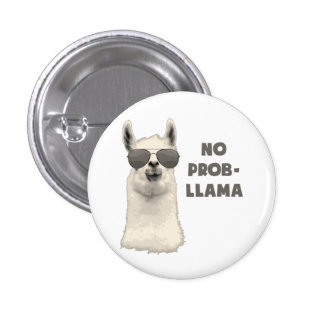 No Problem Llama 3 Cm Round Badge