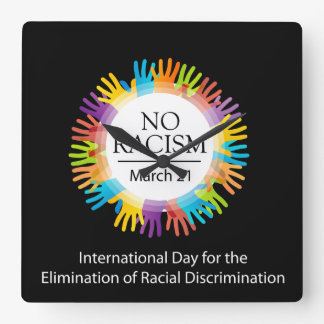 No racism graphic with colorful hands clock