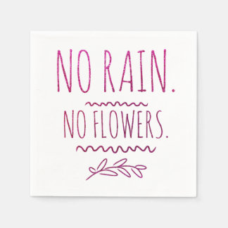 No Rain No Flowers Motivational Glitter Quote Disposable Napkins