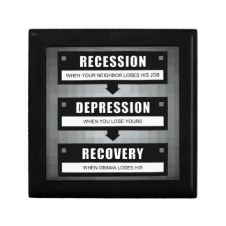 No Recovery With Obama Small Square Gift Box
