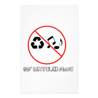 No Recycled Music Customized Stationery