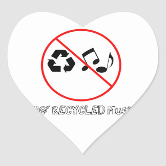 No Recycled Music Heart Stickers