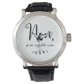 No Regrets Inspiratioinal French Quote Wristwatches