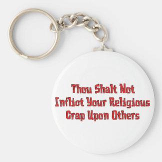 No Religious Crap Basic Round Button Key Ring