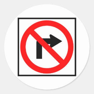 No Right Turn Highway Sign Round Sticker