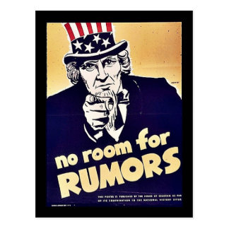 No Room For Rumors Post Cards