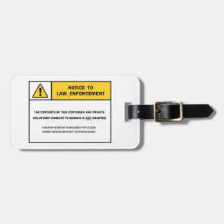 """No Search Without A Warrant"" Luggage Tag"