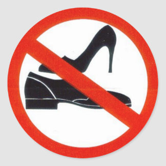 No shoes onboard. round sticker