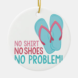 No Shoes Round Ceramic Decoration