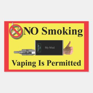 NO Smoking but Vaping Permitted Rectangular Sticker
