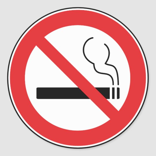 No Smoking Sign Round Sticker