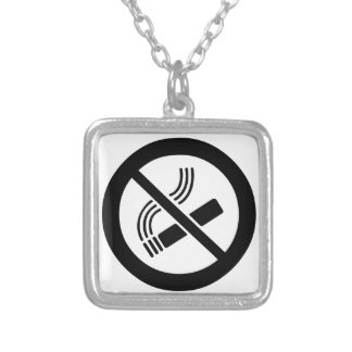 No Smoking Silver Plated Necklace