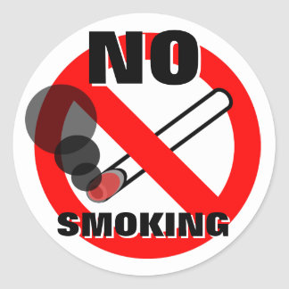 No Smoking Warning Sign Classic Round Sticker