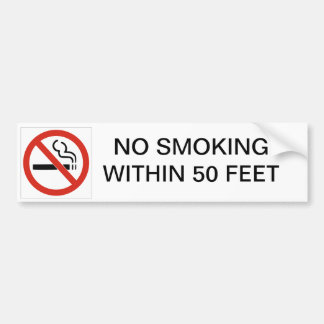 NO SMOKING WITHIN 50 FEET CAR BUMPER STICKER