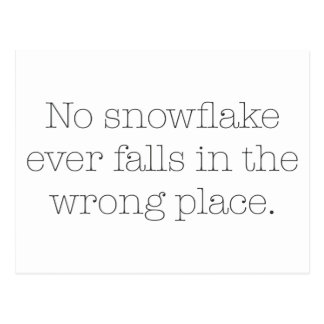 No Snowflake Ever Falls in the Wrong Place Postcard